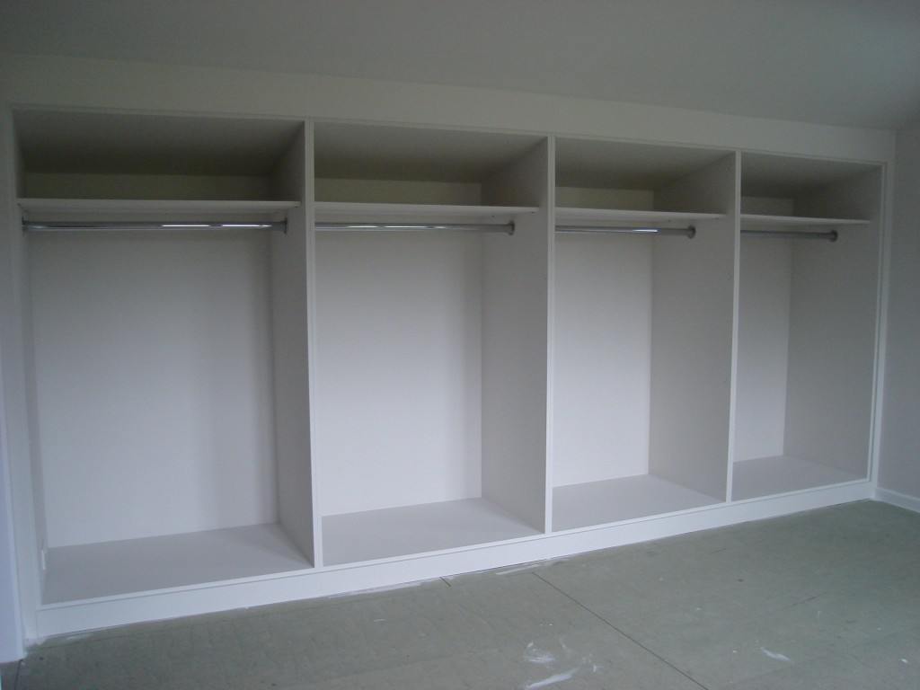White painted mdf built in wardrobes with frame and panel doors diy wardrobes information centre - Walk in wardrobes diy ...