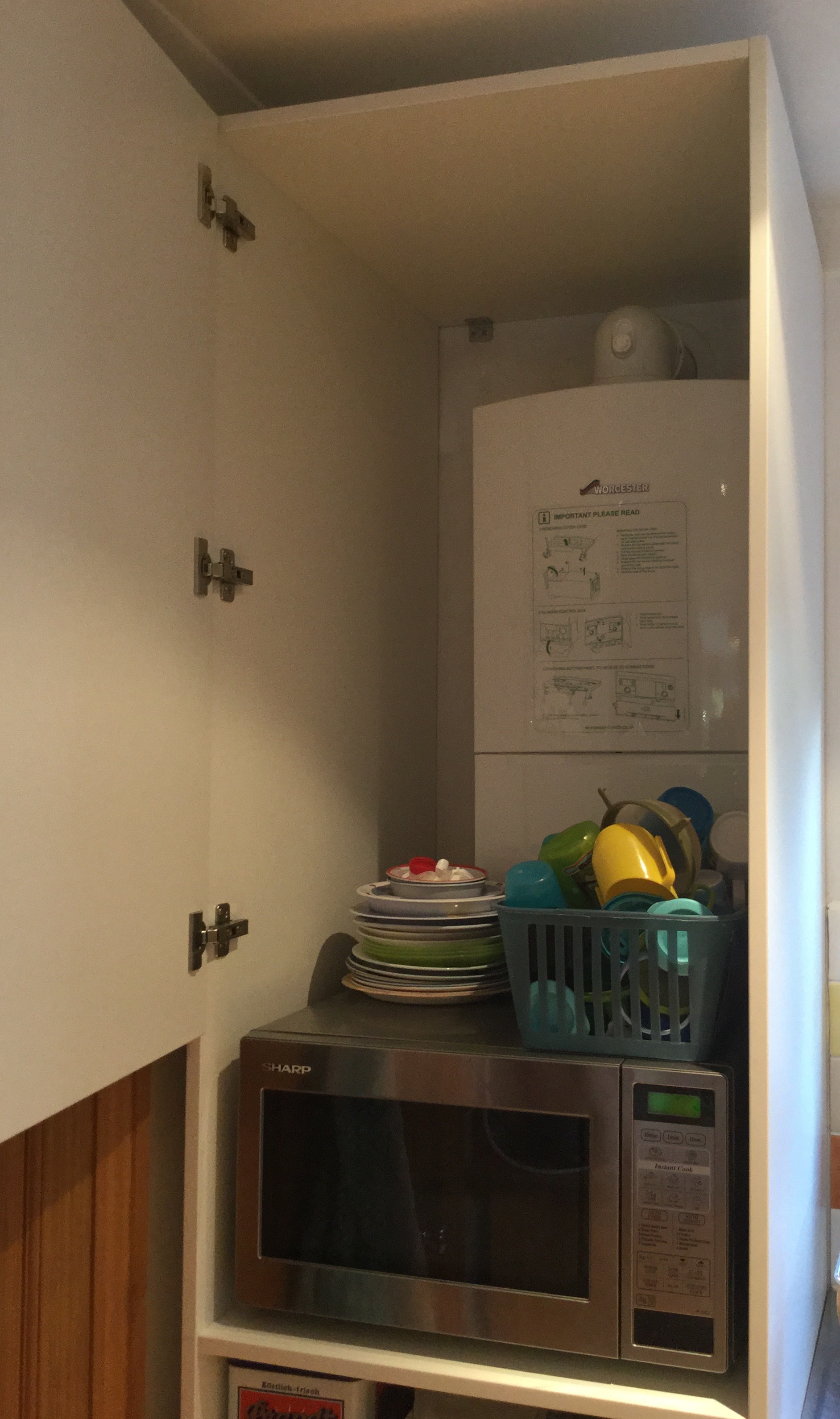 Boiler Kitchen Cupboard With Easy Access To Pipes Diy