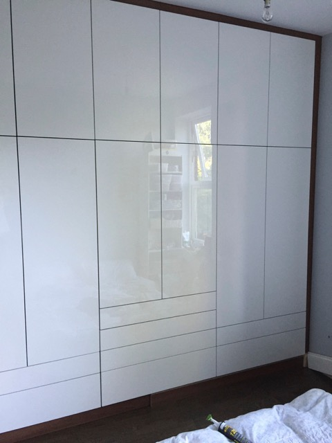 High Gloss White Acrylic Doors On Walnut Carcass Diy