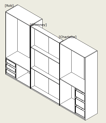 Three carcasses designed for positioning behind sliding doors