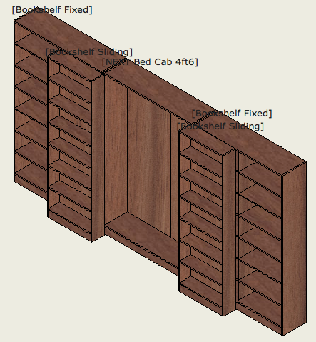 Wallbed - sliding bookcase - open