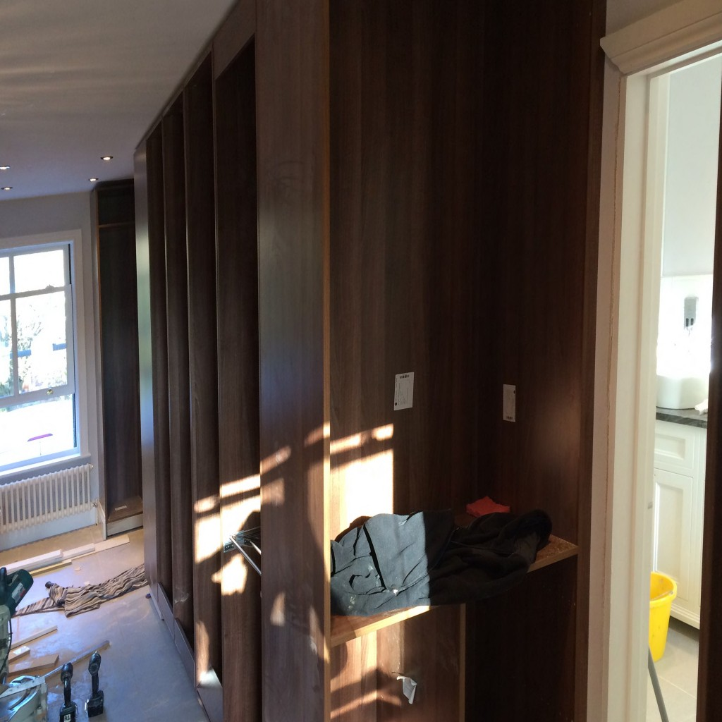 Build in progress; View along walk-in wardrobe
