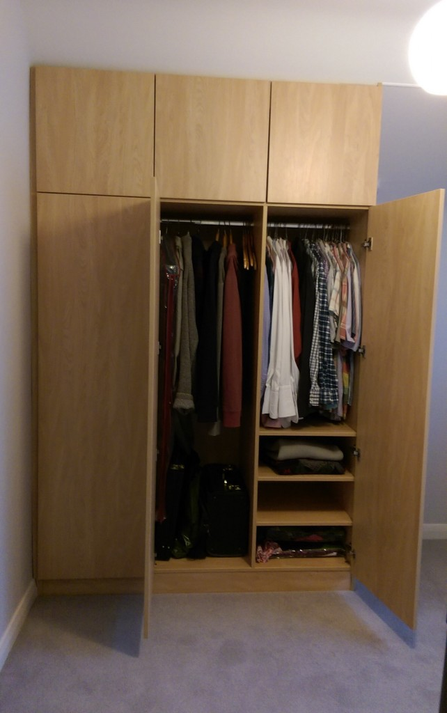 Angled wardrobe inside space