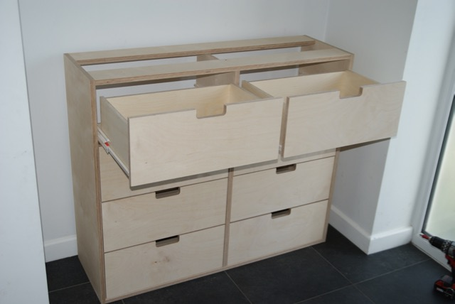 BIrch Ply chest of drawers - open